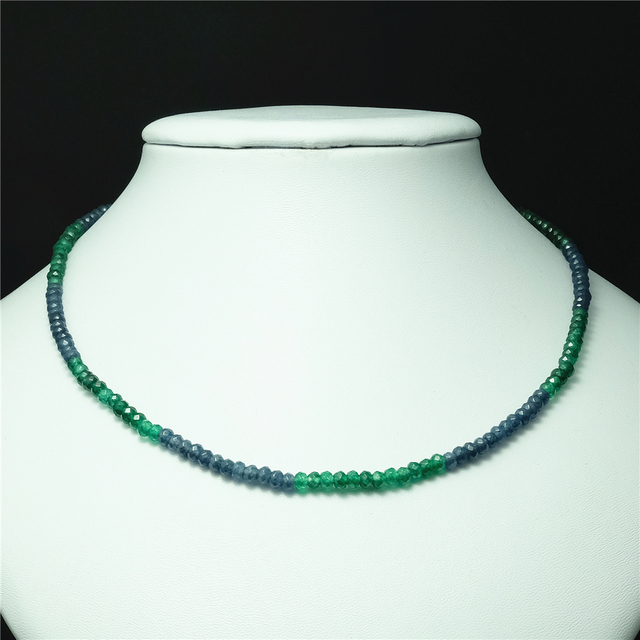 Vintage Classic Natural Stone Jewelry Delicate Sapphires Emeralds Multicolors Beaded Chain Choker Necklace