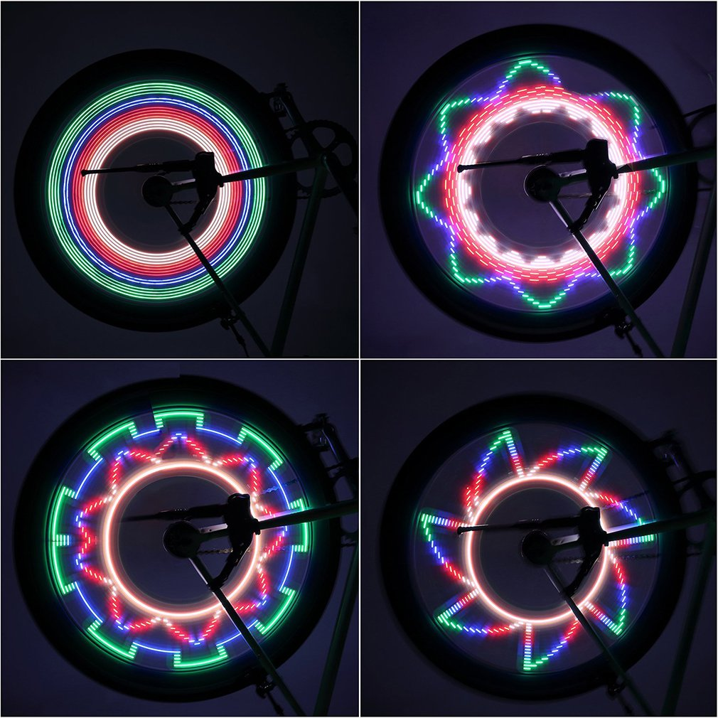 Hot 2 Side LED 32 Mode Bike Spoke Warn Light Waterproof Bicycle Wheel tyre light Signal Lamp Reflective Rim Rainbow Tire Fixed tadpole shape outdoor bicycle 1 led 2 mode signal light white 2 pcs 2 x cr2016