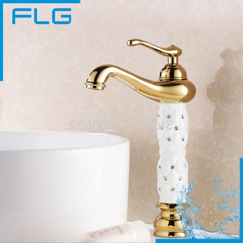 ФОТО FLG Torneira Banheiro Single Handles Deck Mounted Bathroom Gold Faucet, Bathroom Basin Sink Golden Mixer Tap