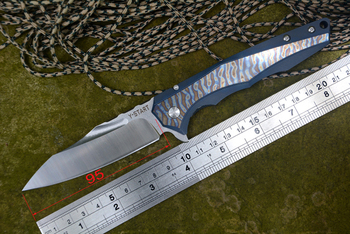 Y-START LK5017 New Folding knife VG10 blade blue flame texture titanium handle Brand quality Gift Collections Outdoor Knives