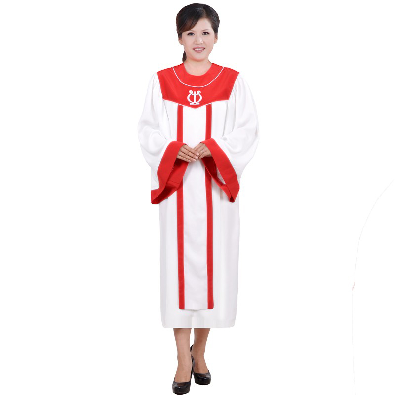 New 2018 Christian Church Choir Singing Clothing Apparel High Quality Women's Christian Red And White Robe Costumes