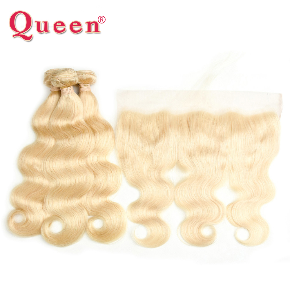 Queen Hair Brazilian 3 or 4 Bundles With Frontal Closure Body Wave 613 Blonde Color Non Remy Hair Bundles With 13x4 Frontal