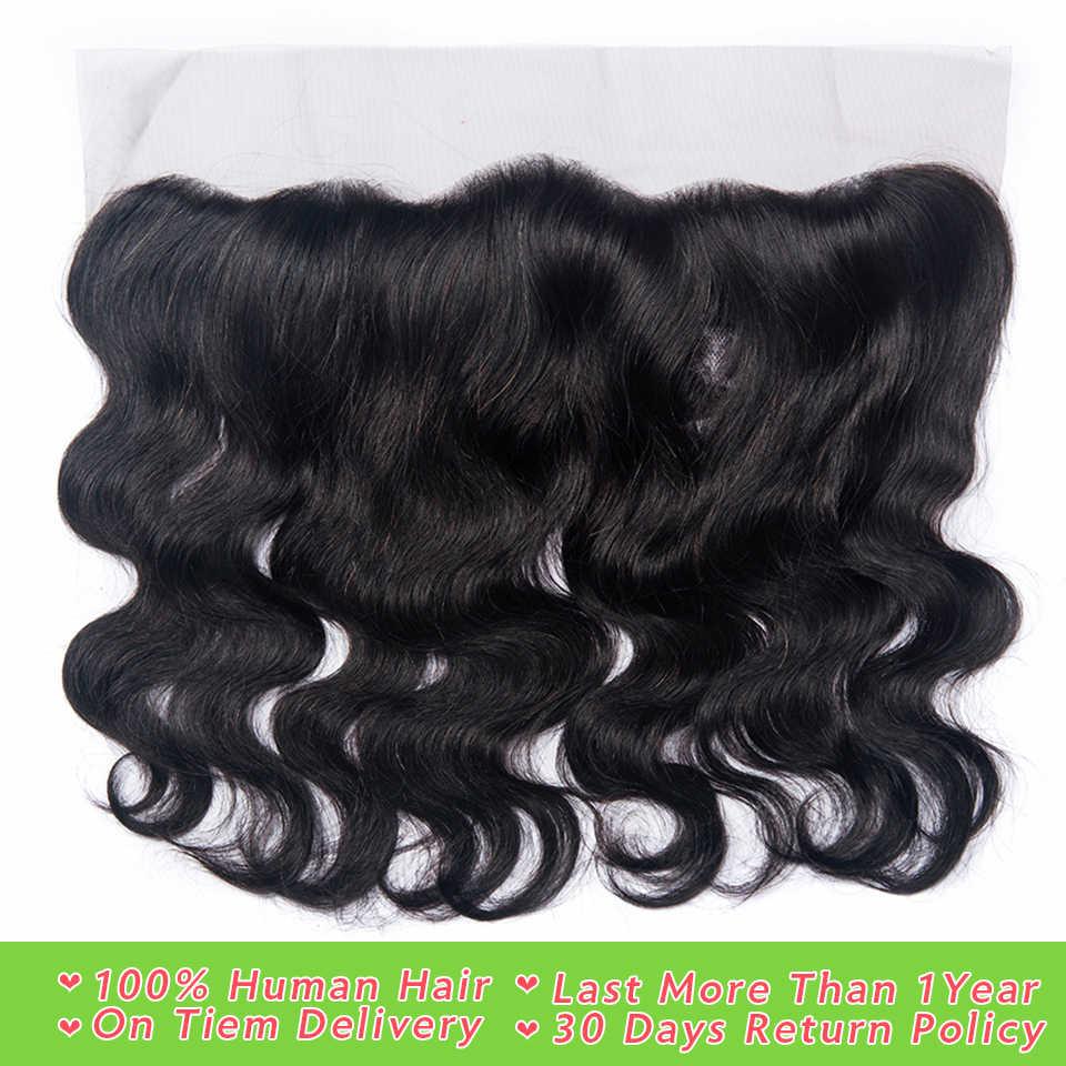 Перуанские волосы, волнистые Фронтальная застежка с волосами младенца 100% человеческих волос 13x4 уха до Кружева Фронтальная застежка