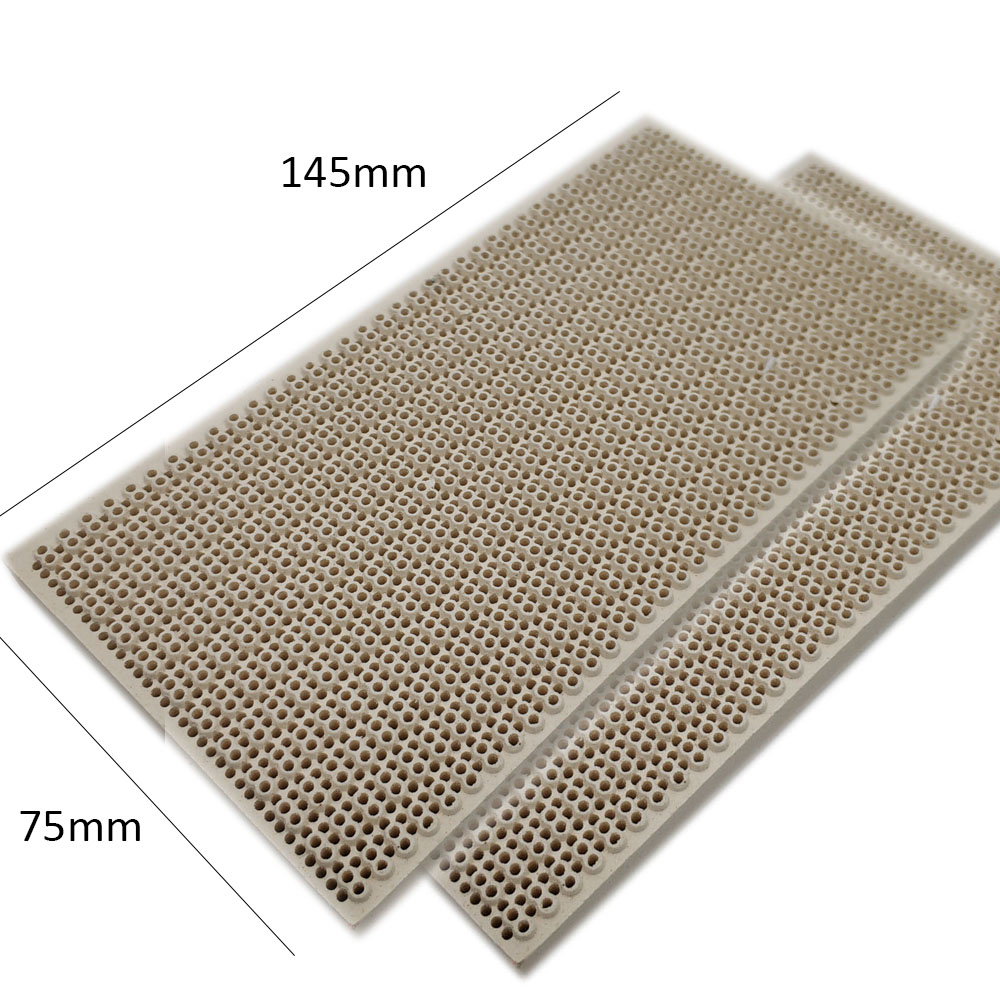 MENSI Propane LPG Gas Heating Appliance Burner Parts Honeycomb Ceramic Plate 145*75*14mm High Burning Effeciency 3PCS