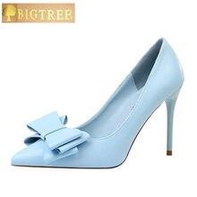 ba77b5c587 Nova Moda Delicado Doce Bowknot Sapatos de Salto Alto PU 10 cm Saltos Finos  Lado Oco Apontou Bombas Mulheres