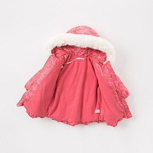 Image 4 - DBA7887 dave bella winter baby down coat girls hooded outerwear children 90% white duck down padded kids with fur pocket coat