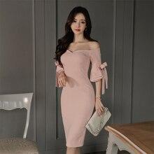 Autumn dress women fashion 2018 pencil solid lash neck flare sleeve casual ladies dresses vestidos  Long korean dress office