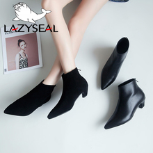 LazySeal 2018 New Luxury Women Boots Leather Winter Casual Shoes Woman Hoof Heels Pointed Toe Ankle Boots Female Botas Mujer