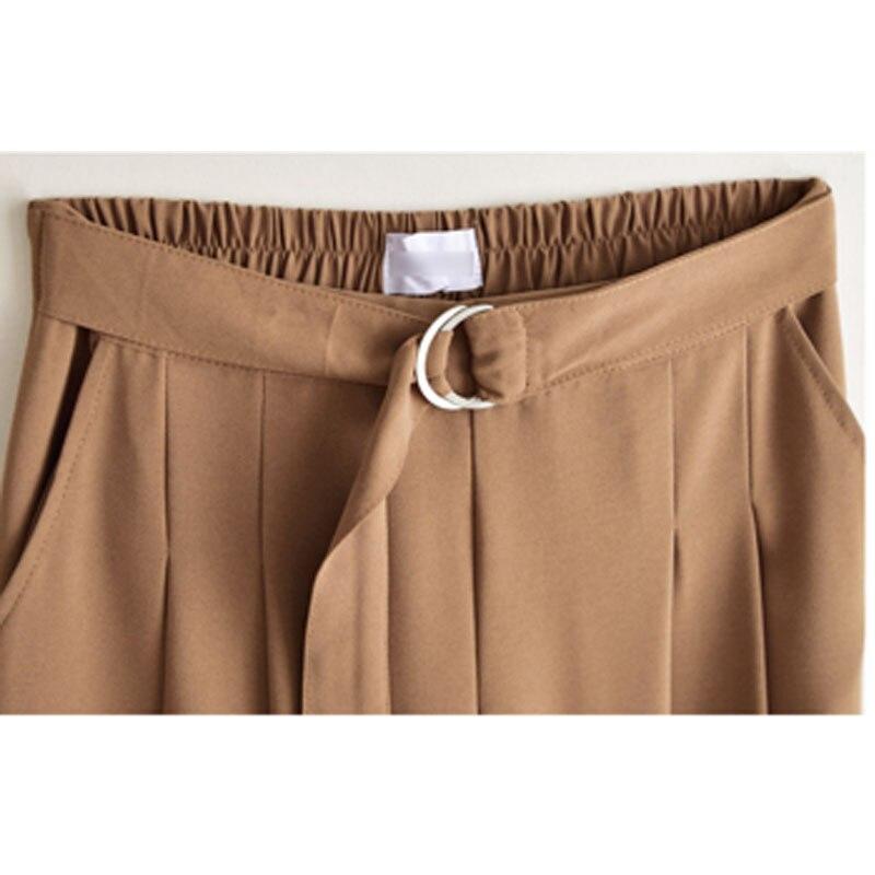 Новое поступление летние европейские Стильные повседневные свободные женские широкие брюки размера плюс женские брюки стрейч