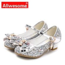 Allwesome Kid Leather Shoes Princess Girls Flower Glitter Sequin Baby High Heel Shoes Butterfly Knot Red Chaussure Fille Mariage new girls shoes high quality japanned leather flats girls butterfly knot crystal decor hasp princess shoes sapato menina d108