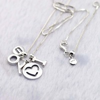 Authentic 925 Sterling Silver I Love You Lady Necklace Charms With Glitter For Elegant Women Jewelry