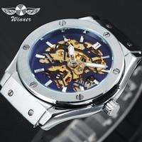 WINNER Military Sport Watch Steampunk Men Auto Mechanical Blue Skeleton Dial Rubber Strap 3D Bolt Design Fashion montre homme