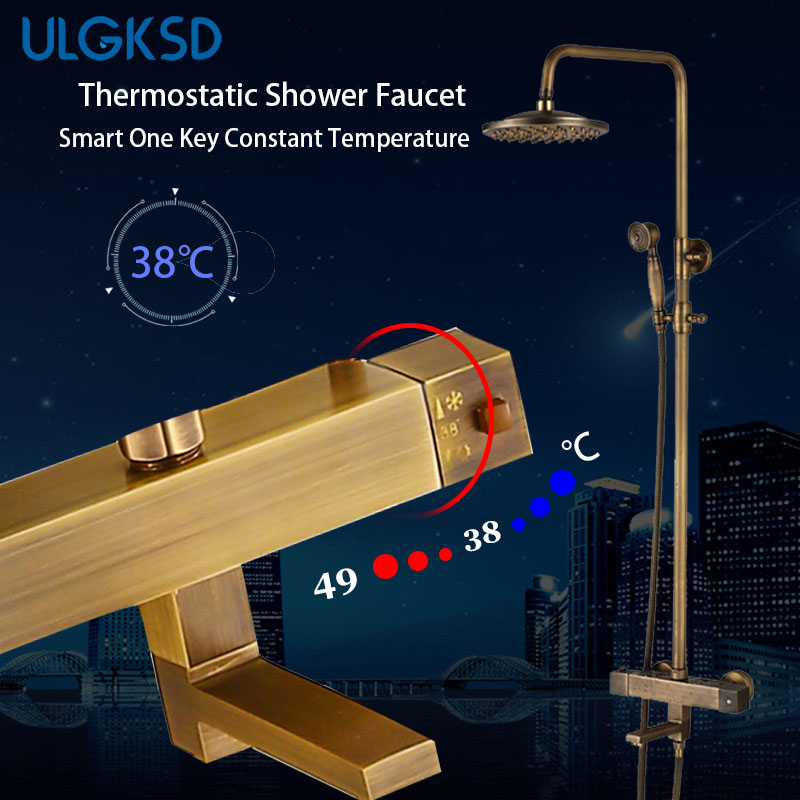 ULGKSD Bathroom Shower Faucet Set Antique Brass Wall Mounted Thermostatic Valve Mixer Tap Para Bath Shower Faucets new shower faucet set bathroom thermostatic faucet chrome finish mixer tap handheld shower wall mounted faucets