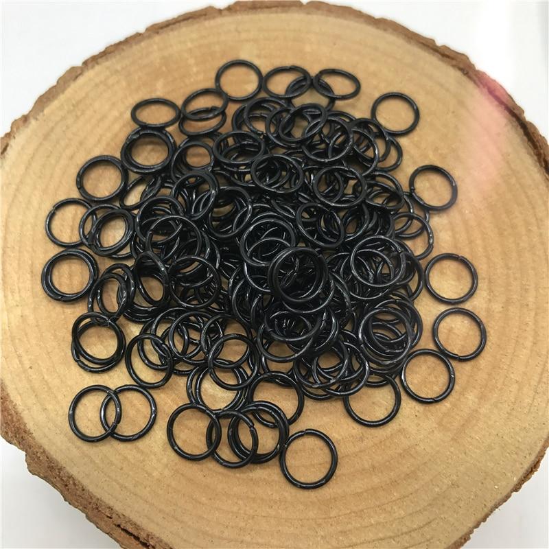 4/6/8/10 мм 500/300/200/100 шт Металлические разомкнутые кольца для прыжков Разделение кольца Разъемы для самостоятельного изготовления ювелирных изделий - Цвет: Black