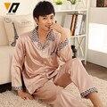 Homens seda roupa Pajama define Sleepwear seda salão vestir pijamas definir terno de manga comprida L-3XL