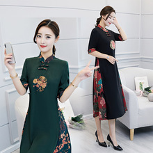 Black Green Chinese Traditional Dress Women's Silk Satin Cheongsam Qipao Spring Half Sleeve Dress Flower M L XL XXL XXXL