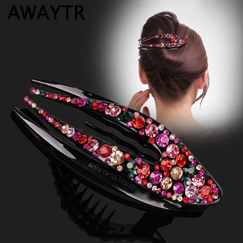 AWAYTR Korean Crystal Hairpin For Women Hairclip Top Side Clip Rhinestone Duckbill Clip Hair Jewelry Girls Hair Accessories