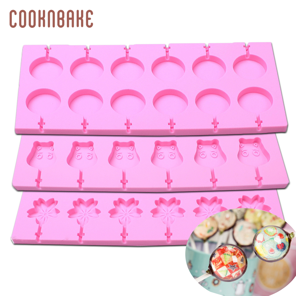 US $3 99 5% OFF|Silicone Lollipop Molds candy Chocolate lollipop mold Round  Design Cake Modle siliconen gummy mould Flower ox shape 12 holes-in Cake
