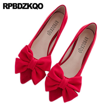 Designer Bow Dress Flats Red Pointed Toe Height Increasing Wedding Ballet Shoes Ladies Slip On Chinese Women Beautiful Suede