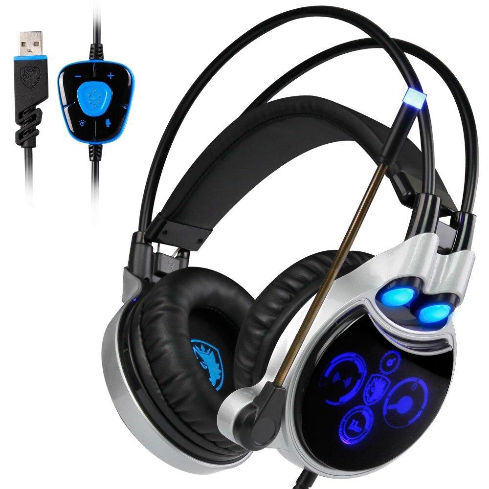 Sades R8 Gaming Headset headband USB 7.1 Surround Sound vezetékes - Hordozható audió és videó - Fénykép 2
