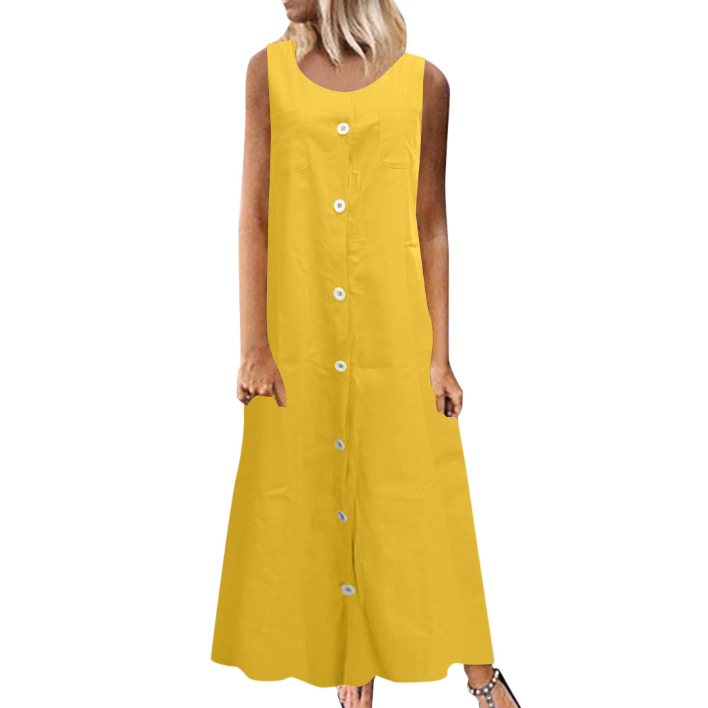 Womens Summer Dress Sleeveless O neck  Linen Dress Loose Button A-line Party Solid  Maxi Dress vestidos tallas grandes mujer