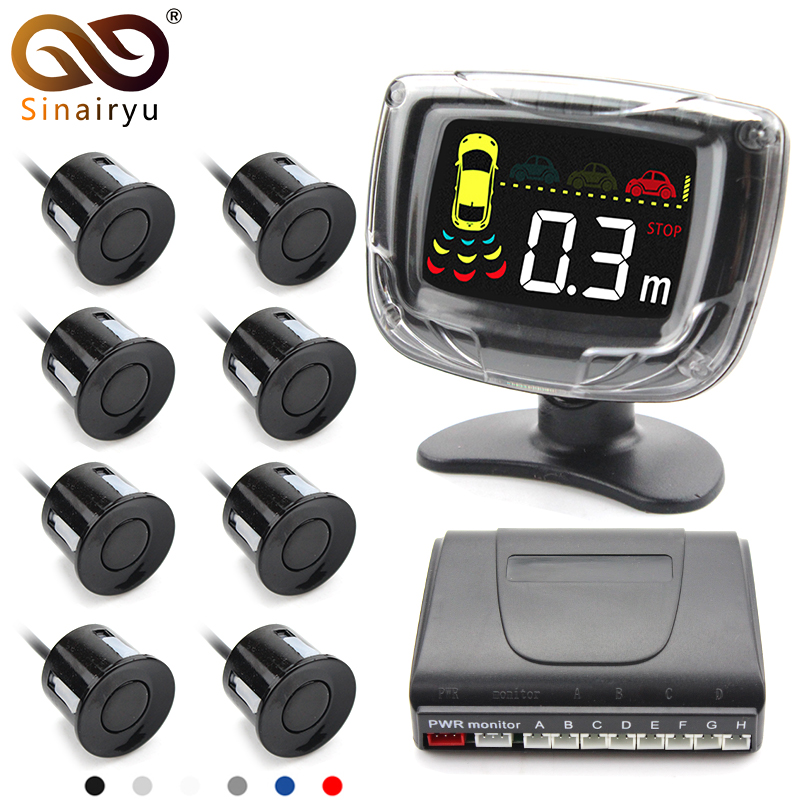 Sinairyu 8 Sensors 22mm Car LCD Display Parking Sensor Monitor Kit Auto Reverse Backup Radar Assistance Buzzer Alarm