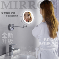 USB Rechargeable Lighted Vanity Makeup Mirror with 7X/1X Magnifying and led lights Bathroom 8 Round Glass Mirrors Chrome Finish