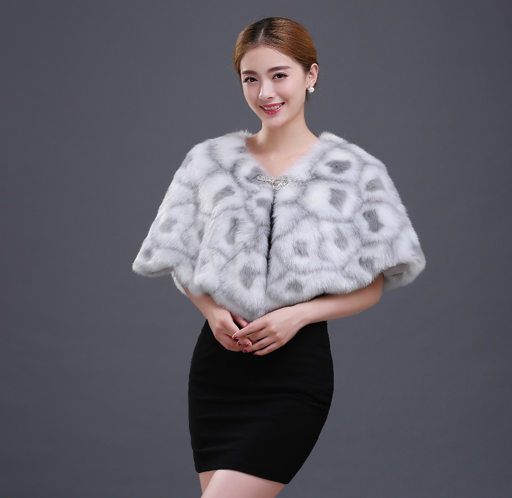 New Noble Modern Two Colors White Brown Fur Cape Mariage Jacket font b Women b font