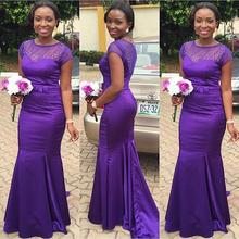 Cheap Bridesmaid Dress 2016 Mermaid Sheer Neck Purple Satin Maid of Honor Dresses Formal Gowns Wedding Party Dress Sweep Train