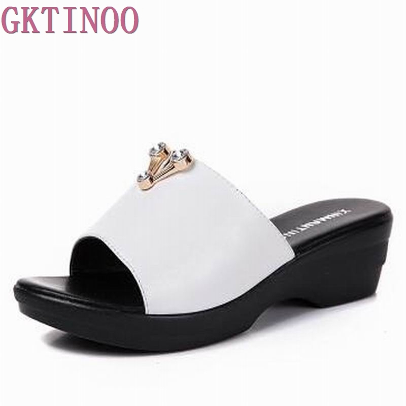 New 2018 cowhide women genuine leather sandals platform slippers summer shoes women flip flops pumps woman V07 plardin 2017 bohemia summer casual women wedges platform woman ladies metal decoration flip flops genuine leather shoes