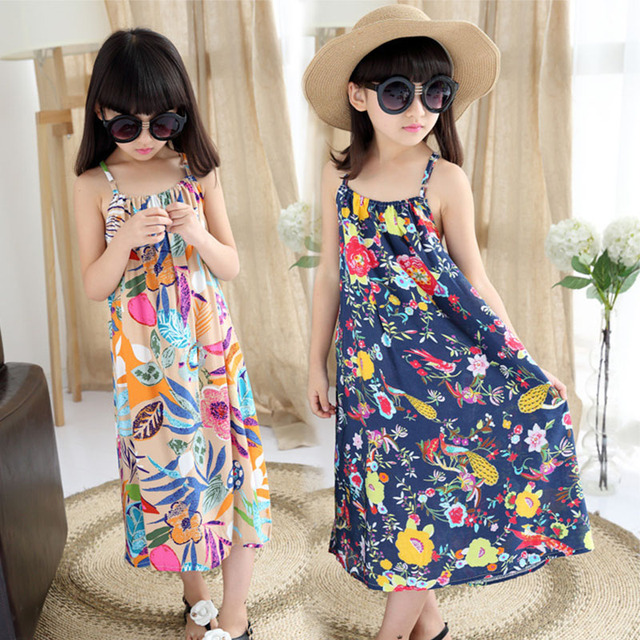 5d19d6a2a78 Holiday Beach Teenage Girls Clothing Dress Flowers Printed Maxi Long Girls  Dresses Summer 8 10 12 13 14 Years 2019 Sundresses
