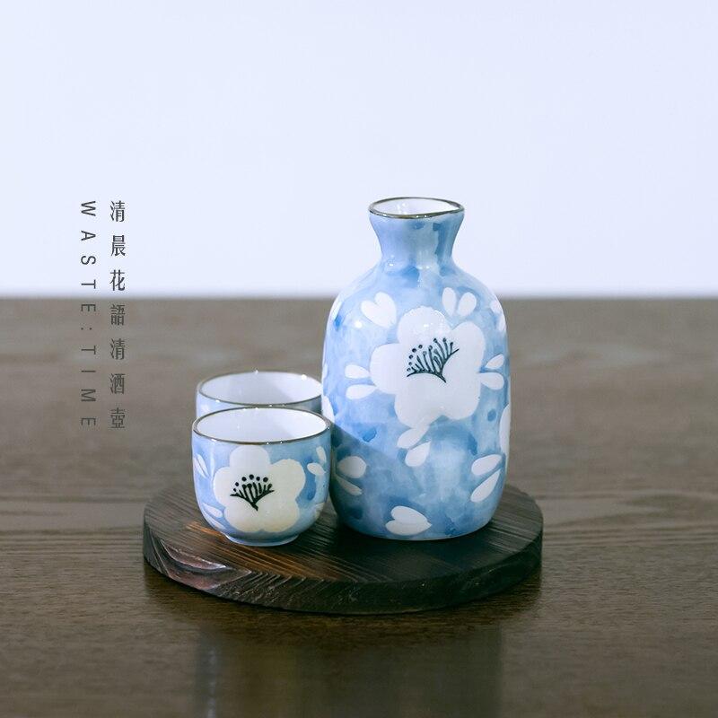 Style japonais peint à la main fleurs bleues petit pot de vin frais quatre tasses ensemble de saké blanc vin barware distributeur liqueur cadeau boîte