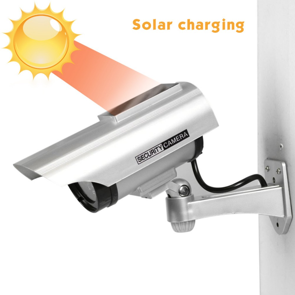Cámara falsa a prueba de agua con energía Solar CCTV vigilancia de seguridad parpadeante luz LED roja vídeo Cámara antirrobo YZ-3302