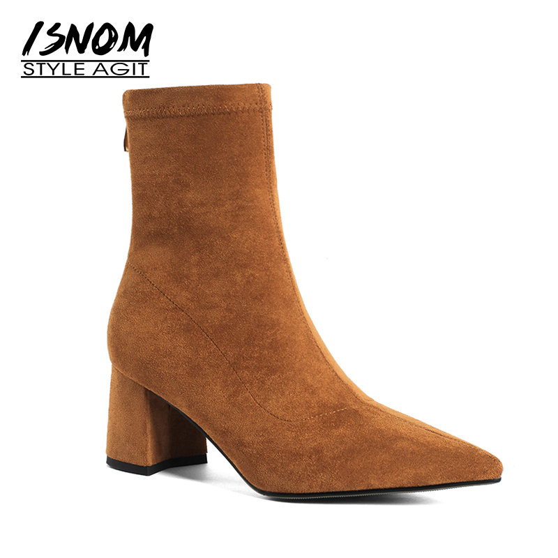 ISNOM Autumn Stretch Women Sock Boots Thick High Heels Boot Pointed Toe Flock Female Shoes Winter