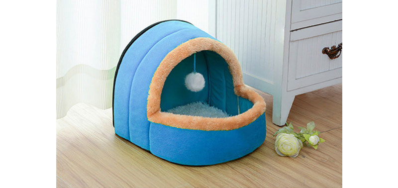 5 Colors Pet Dog Cat Bed Foldable Puppy House With Toy Ball Warm Soft Pet Cushion Dog Kennel Cat Castle (1)