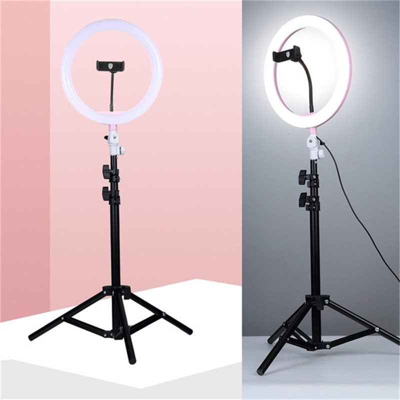 Tycipy 10 Ring Light Photo Studio Camera Makeup Ring Light Phone Video Live Light Lamp with Tripod for Smartphone Canon Nikon