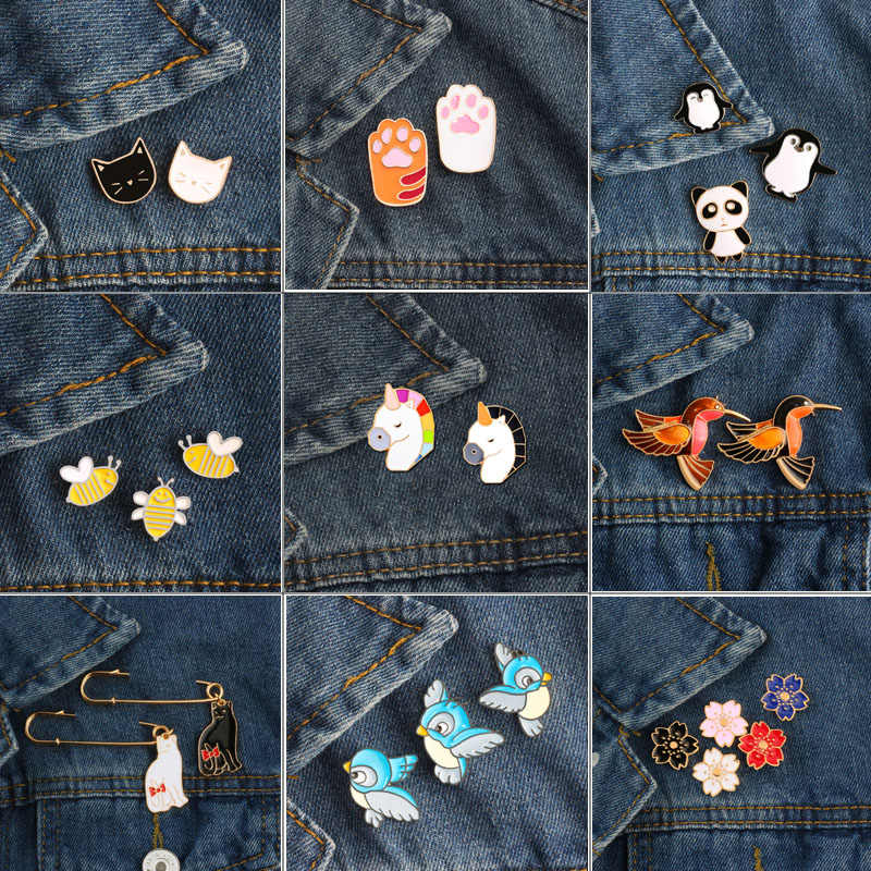 Enamel Pin set Cute Bee Rabbit Bird Panda Japan Cherry Blossom Flower Cat And Cat Paw Brooches Denim Leather Coat Badges Buckles