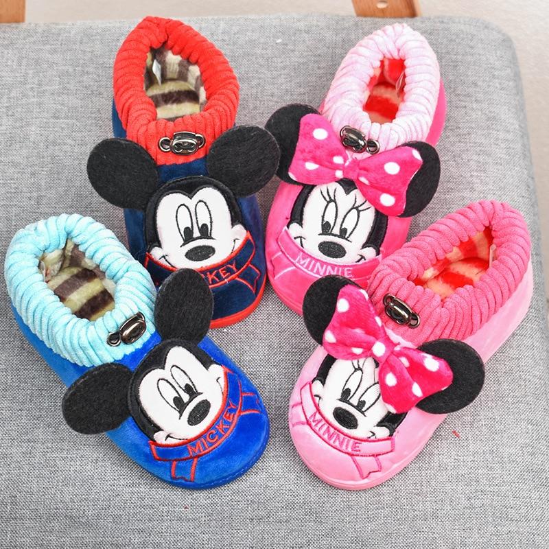Disney Children's Cotton Slippers Home Warm Thick Cartoon Cute Mickey Minnie Non-slip Cotton Shoes