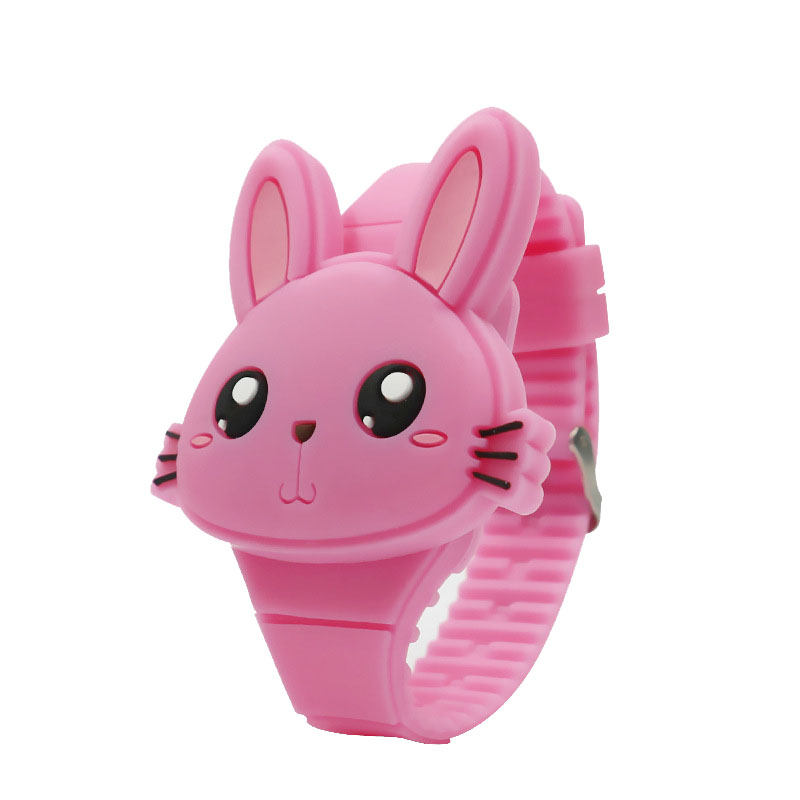 1 Pcs Kids LED Electronic Watch Silicone Band Cartoon Rabbit Flip Case Wrist Watch Lovely Gift TH36