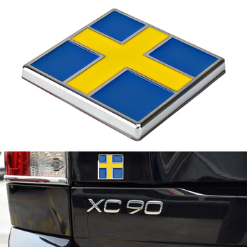 Sweden Flag Metal Car Sticker for Volvo S40 S60 S80 S90 C30 C70 XC40 Front Grill Trunk Logo Insignia Decor Sticker Car Styling image