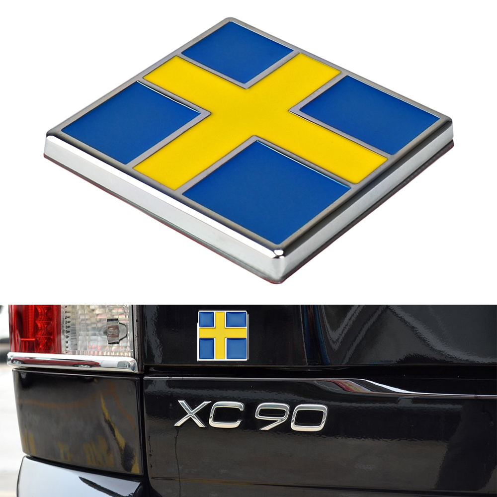 Sweden Flag Metal Car Sticker for <font><b>Volvo</b></font> S40 <font><b>S60</b></font> S80 S90 C30 C70 XC40 Front Grill Trunk <font><b>Logo</b></font> Insignia Decor Sticker Car Styling image