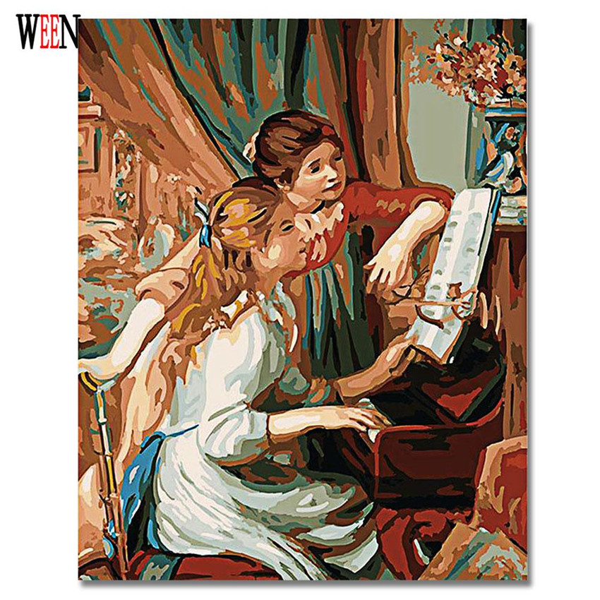 WEEN Playing the piano Oil Painting By Numbers On Canvas DIY Handpainted Sisters Coloring By numbers Digital Canvas Home Decor in Painting Calligraphy from Home Garden