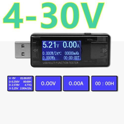 QC2.0 carga rápida 5 V 9 V 12 V 30 V USB capacidad detector power tester medidor