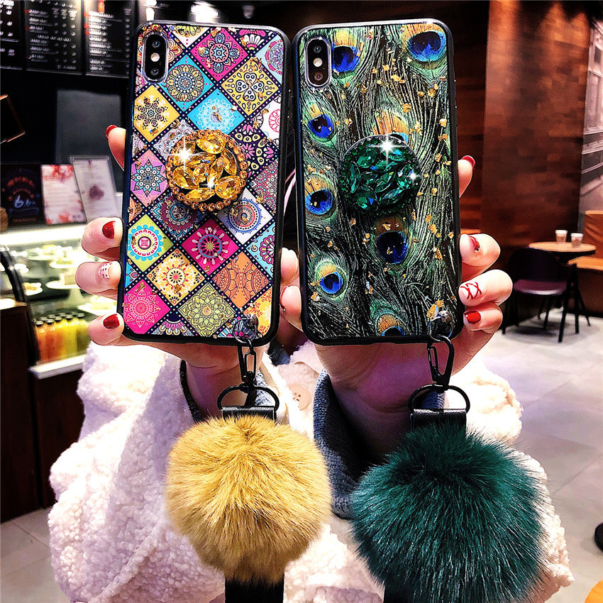 Peacock Ethnic Style Pattern Crack Lanyard Hair Ball Wristband Gold Foil Phone Case for iPhone 6