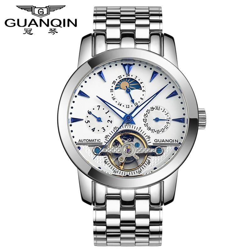 ФОТО GUANQIN GQ10028 Mens Watches Top Brand Luxury Multi-Function Automatic Mechanical Watch Fashion Tourbillon Skeleton Watch