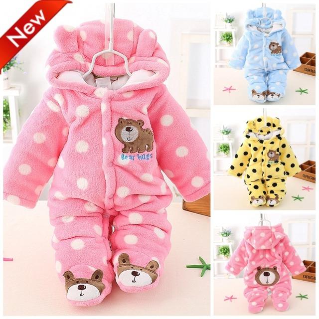 Newborn Baby Girls Clothing Coral Fleece Winter Boy Rompers Cartoon Infant Clothes Meninas Bear Down Snowsuit Babies Jumpsuits