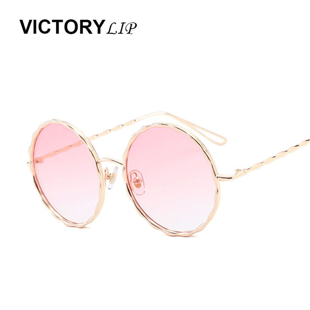 aa2ae7a336 VictoryLip 2017 Mode Ronde Marque Designer Dames lunettes de Soleil Femmes  Hommes Piolt miroir Uv400 Métal