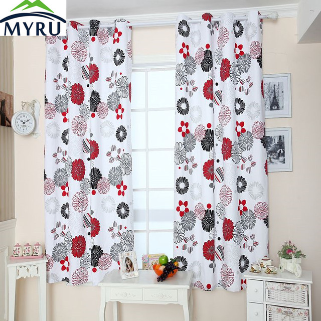 Myru Past Style Canvas Curtain Black And Red Flowers Semi Shade Cloth Curtains For Bedroom