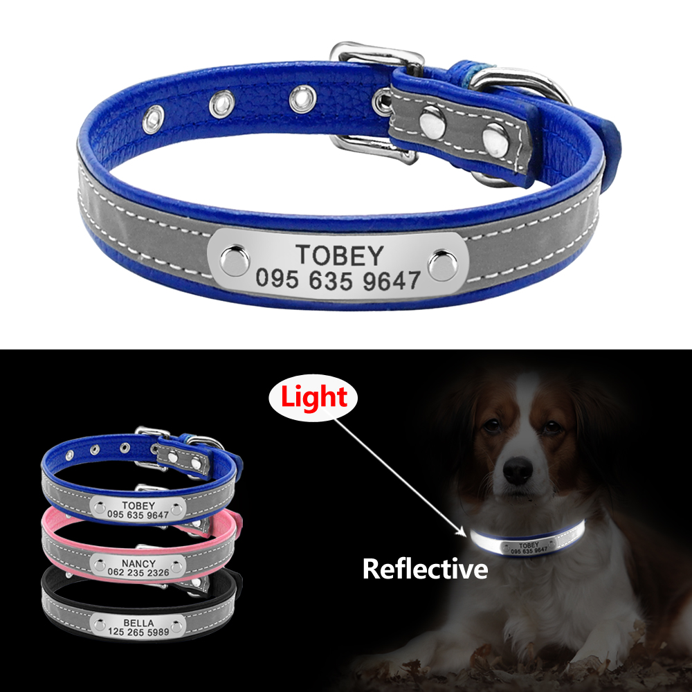 4ea28b850f1b Reflective Personalized Dog Collar Leather Dog Cat ID Collar Custom  Engraved Puppy Nameplate Collars For Small
