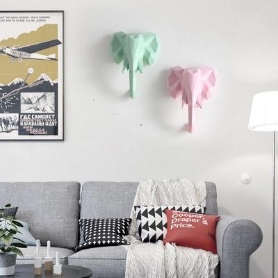 Красочные ins ветер творческие животные носороги слон гостиная комнатная настенная скандинавские украшения стен - 2